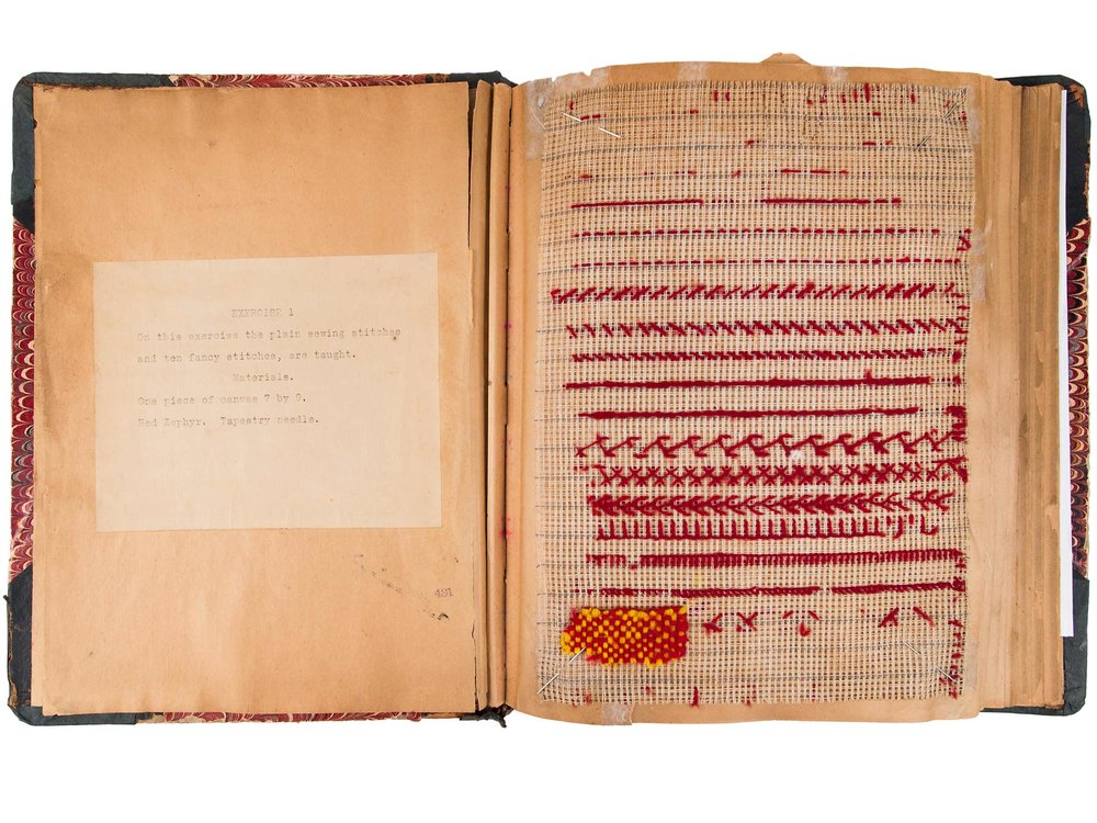 Beatrice Jeannette Whiting's sewing exercise book, ca. 1915