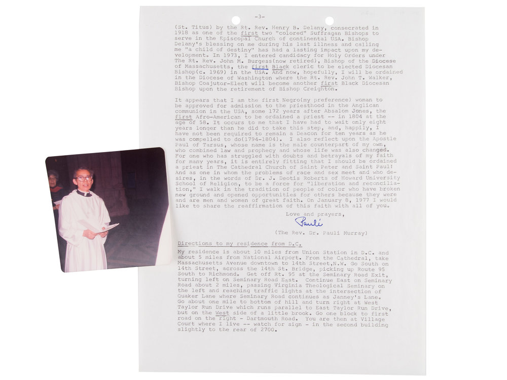 Pauli Murray letter and photo of her ordination, 1977