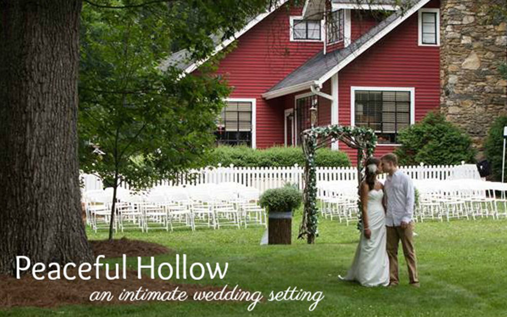 PEACEFUL HOLLOW  Intimately surrounded by the Blue Ridge Parkway and minutes from the heart of Asheville, Peaceful Hollow offers a charming, rustically elegant venue for weddings and elopements.    Leave a Review
