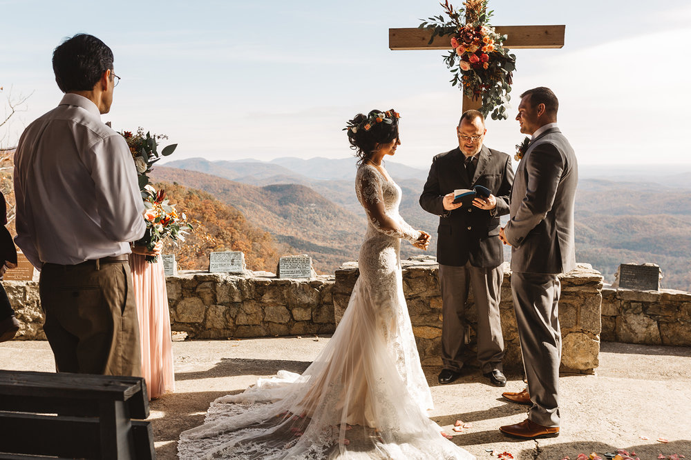Asheville NC outdoor wedding ceremony overlooking mountains