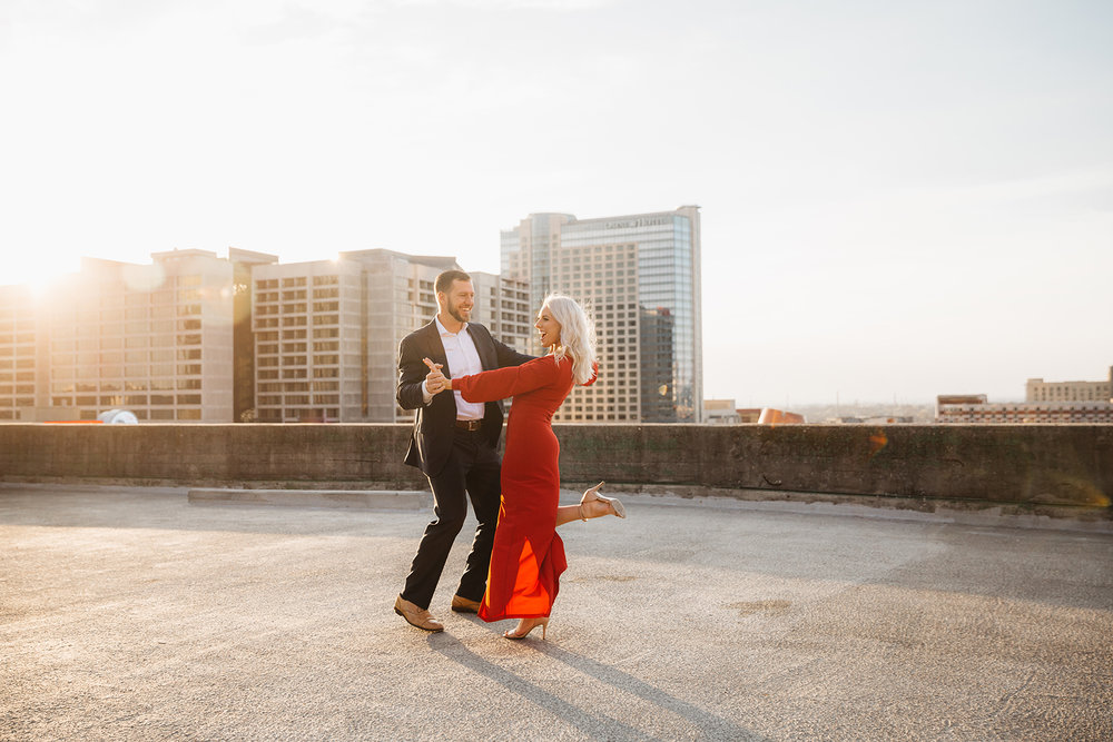 Couple dancing on a rooftop in Asheville NC for destination wedding