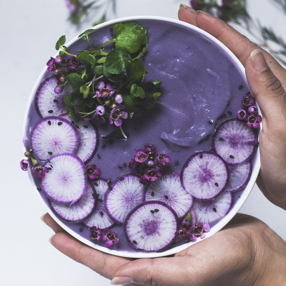 purple potato and cauliflower soup  -