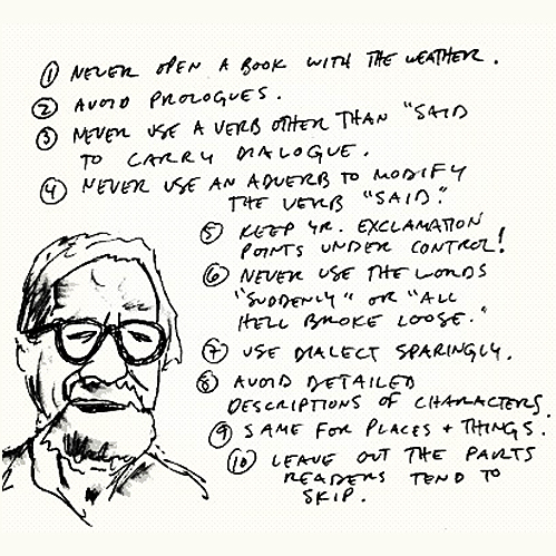 "Elmore Leonard's ""Ten Commandments for Writing"", as taken from   OpenCulture  . Craft books and websites on writing are full of this kind of advice, and almost all of them involve a rule that begins ""Never..."""