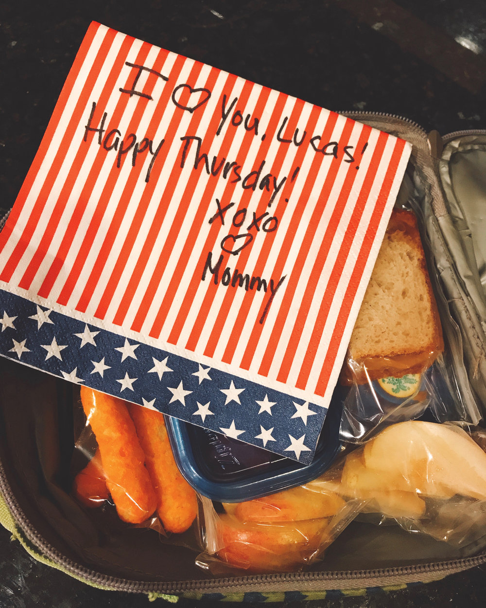 - A sample lunch from for a First Grader, September 7, 2017.