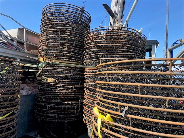 Stacks of fishing pots used to catch cod