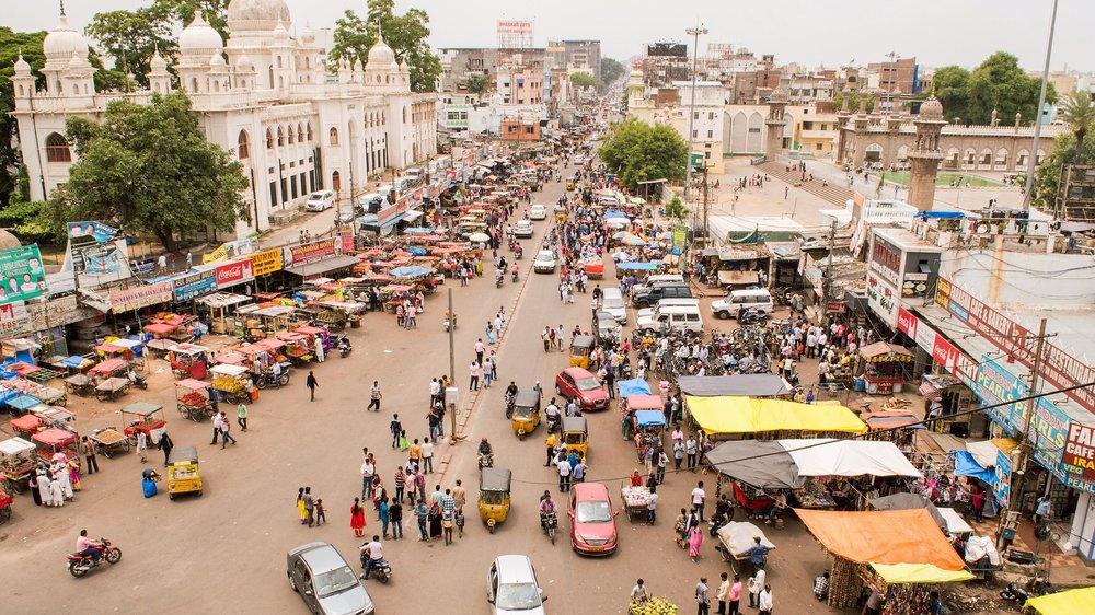 Colorful vendors line the street in Hyderabad, India. Photo Courtesy of Arihant Daga