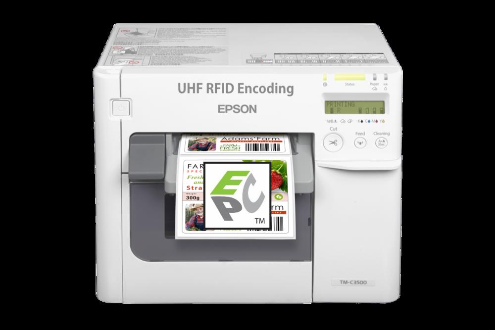 UHF RFID Encoder for Epson TM-3500 - Epson TM-3500 with Flexstr8 Snap-On NFC Encoder:Start printing RFID Labels today