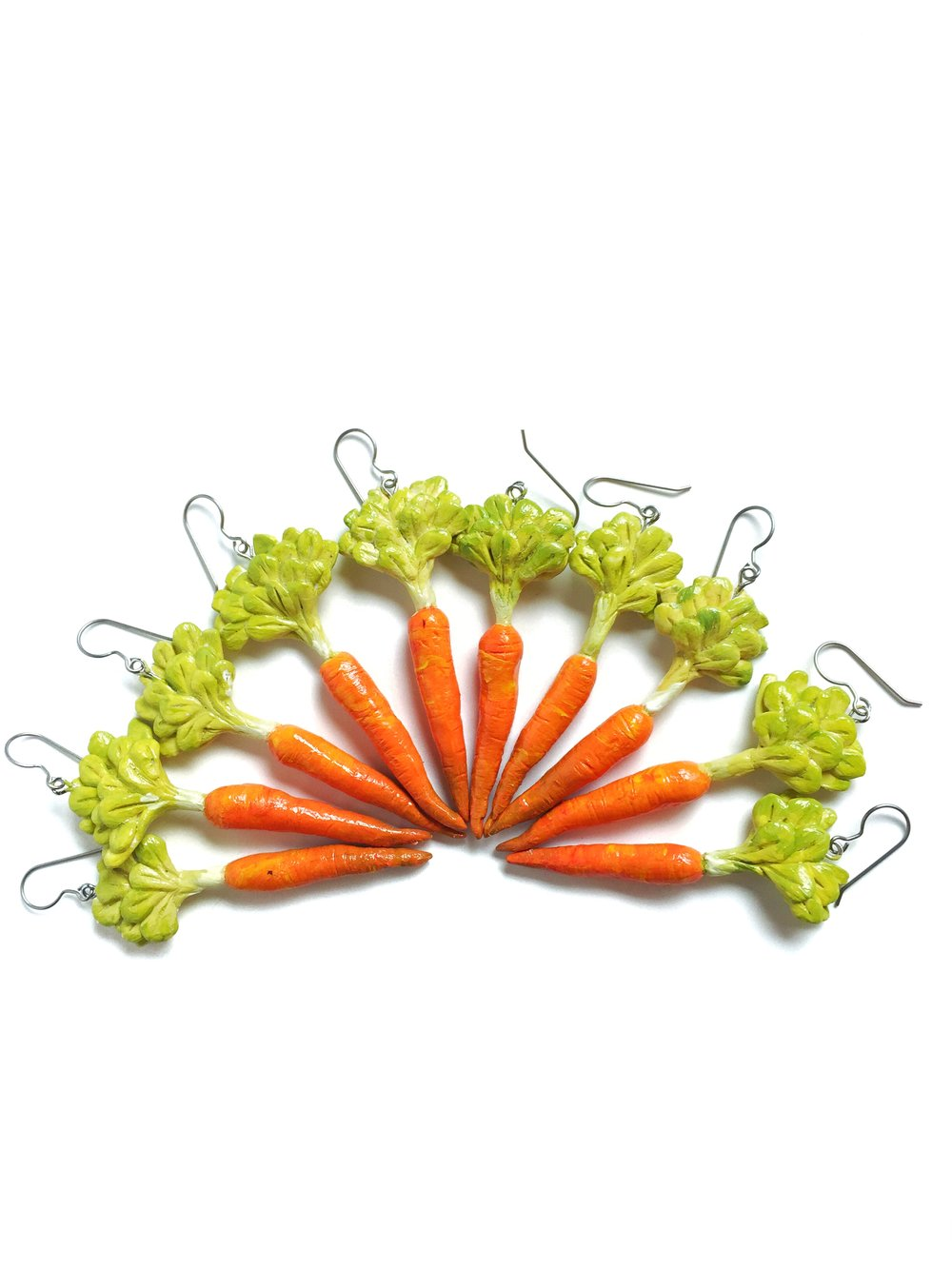 Carrot Earrings, Polymer Clay with Acrylic Paint, 2018