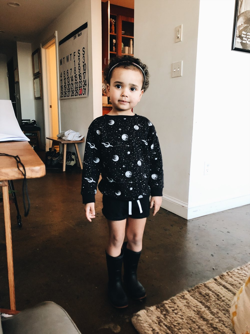 Emerson's OOTD. I have very little control over how she dresses these days.