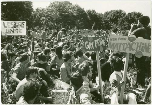 """Manuscripts and Archives Division, The New York Public Library. """"Gay """"Be-In,"""" Sheep Meadow, Central Park, New York, June 28, 1970 [1]"""" New York Public Library Digital Collections. Accessed June 21, 2018. http://digitalcollections.nypl.org/items/510d47e3-57c8-a3d9-e040-e00a18064a99"""