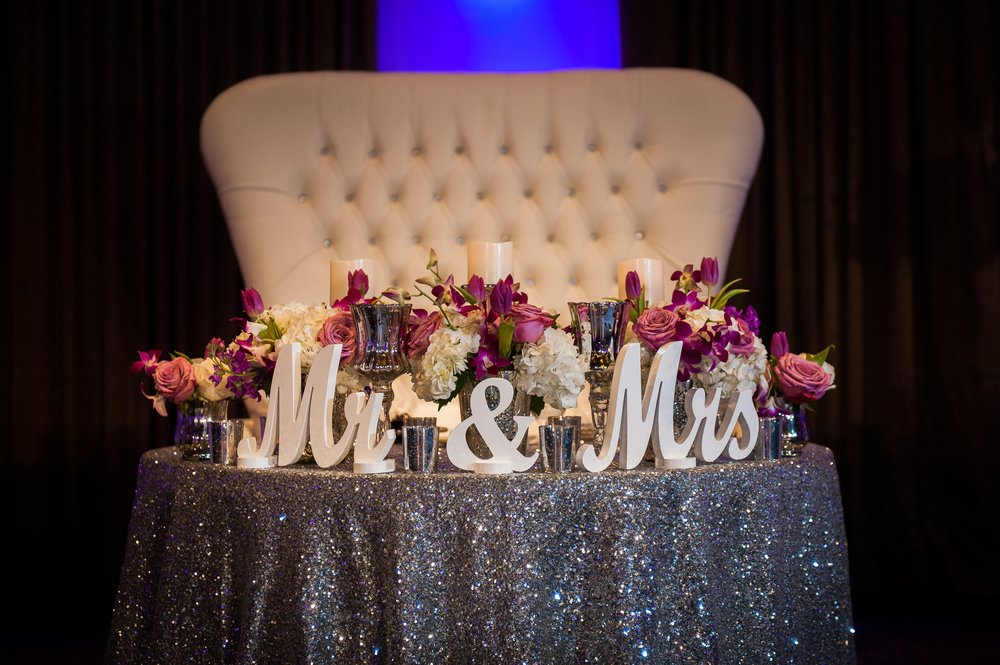 Frankie Leland Events Silver and Purple Sweetheart Table
