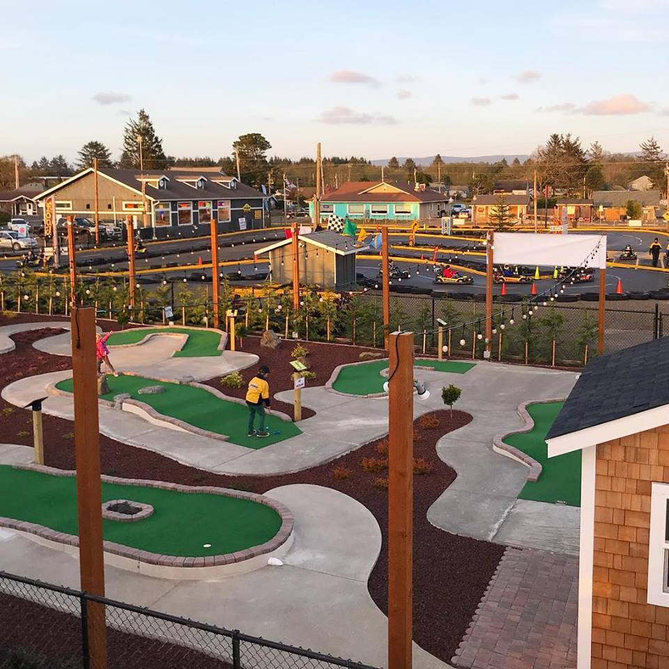 A beautiful evening view of the mini-golf course, go-kart track, and Pit Stop, taken from the roof of the market!