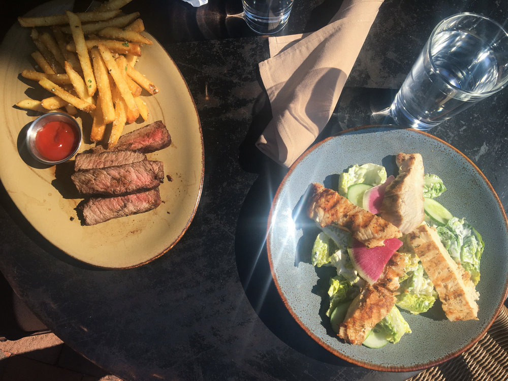 Late lunch at Virtue Feed & Grain. Steak & Fries (left) and Little Gem Lettuce Salad (right).