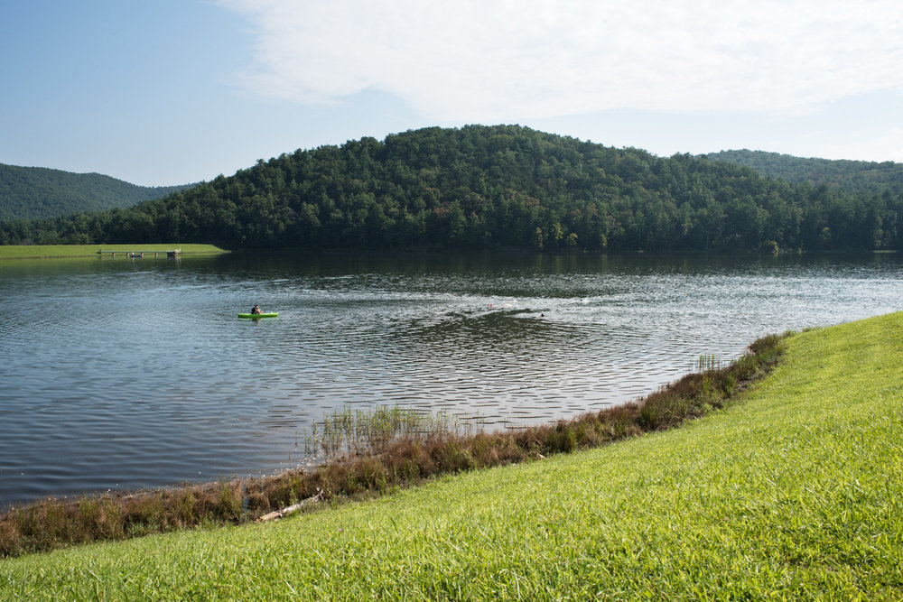 A Saturday morning open water practice swim at Lake Arrowhead in Luray, Virginia.