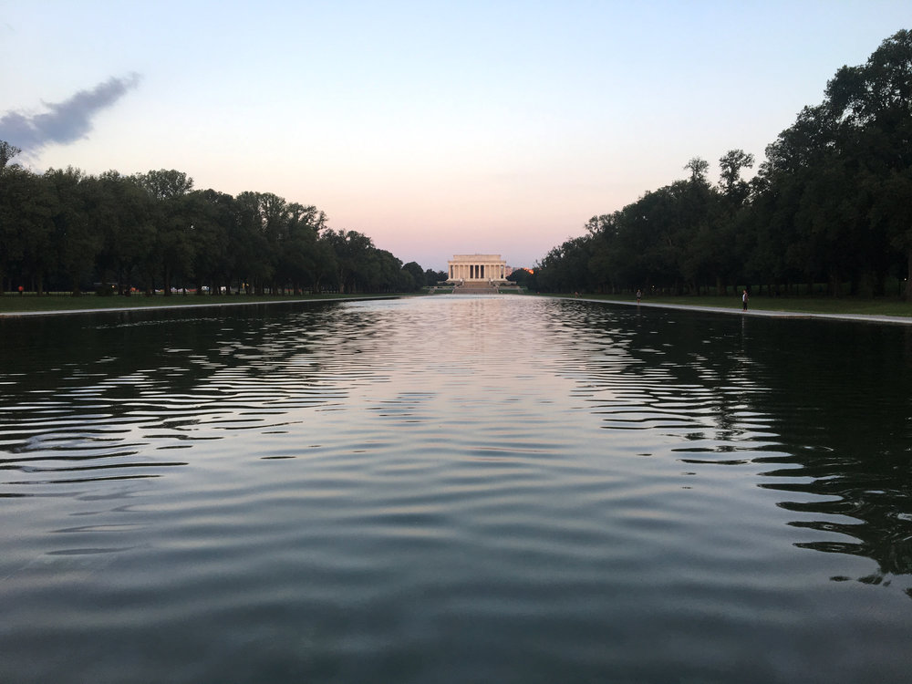 The Reflecting Pool leads to the Lincoln Memorial in Washington D.C.