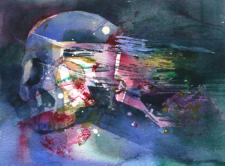 """Out of My Skull II"" Watercolor with crayon, colored pencil, acrylic, and watercolor marker on paper, 9"" x 12"", 2018 Available through  Every Day Original"