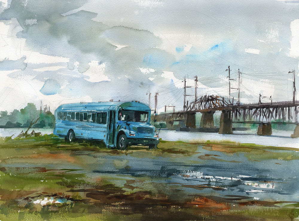 """Blue Bus, Grey Day"" (Havre de Grace, MD) Watercolor on paper, 18"" x 24"", 2017 Available through  Artists' Emporium  in Havre de Grace, MD Received Second Place at Harford Plein Air 2017"