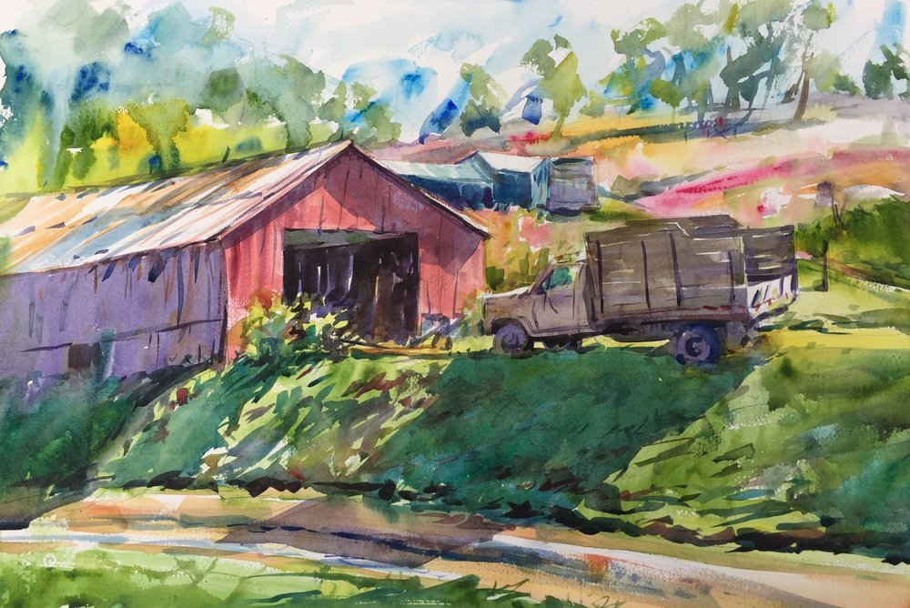 """Mountain Farm"" (Floyd, VA) Watercolor on paper, 15"" x 22"", 2017 Available-  Purchase in shop."