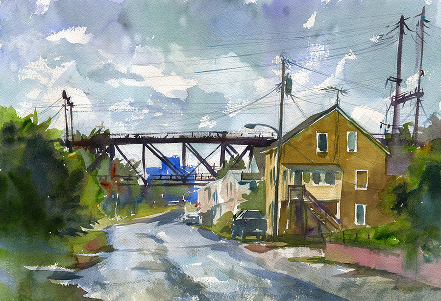 """Water Street Wash Out"" (Havre de Grace, MD) Watercolor on paper, 15"" x 22"", 2017 Available through  Artists' Emporium  in Havre de Grace, MD"