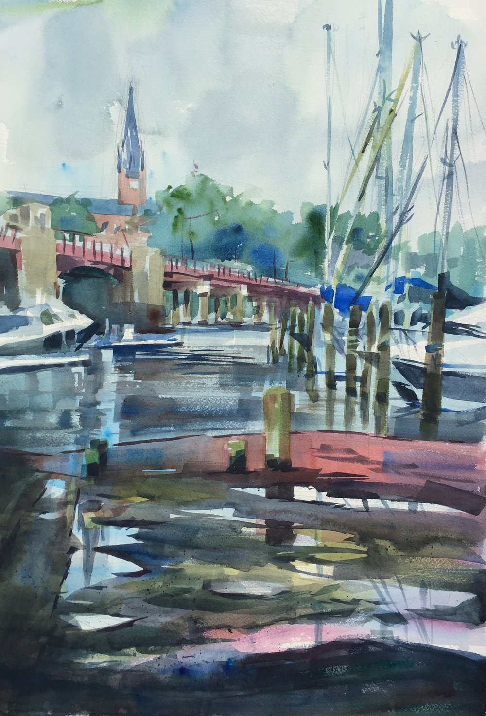 """Point, Counterpoint"" (Annapolis, MD) Watercolor on paper, 15"" x 22"", 2017 Available- Please inquire"
