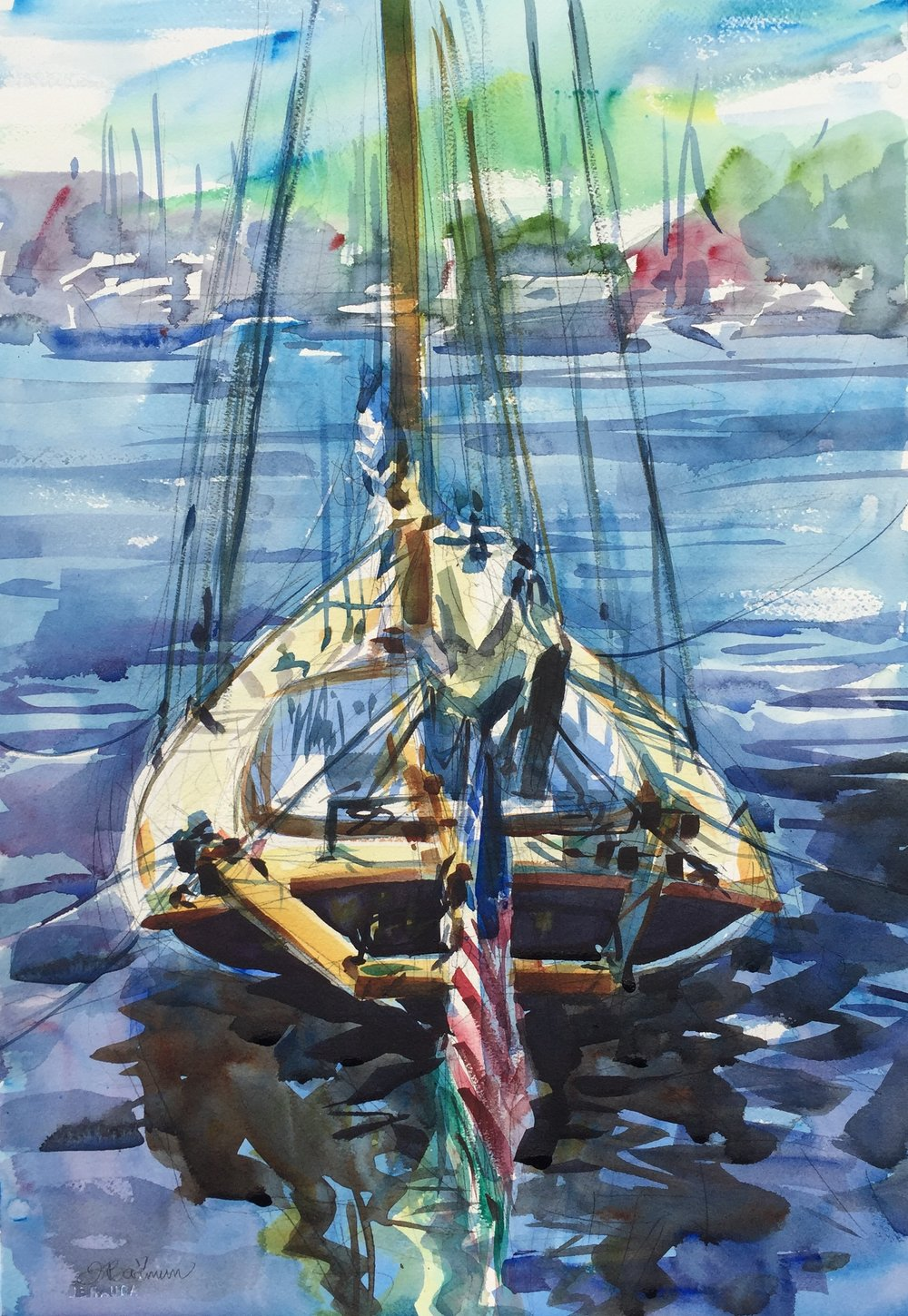 """Bull"" (Annapolis, MD) Watercolor on paper, 15"" x 22"", 2017 Available through  Artists' Emporium  in Havre de Grace, MD"