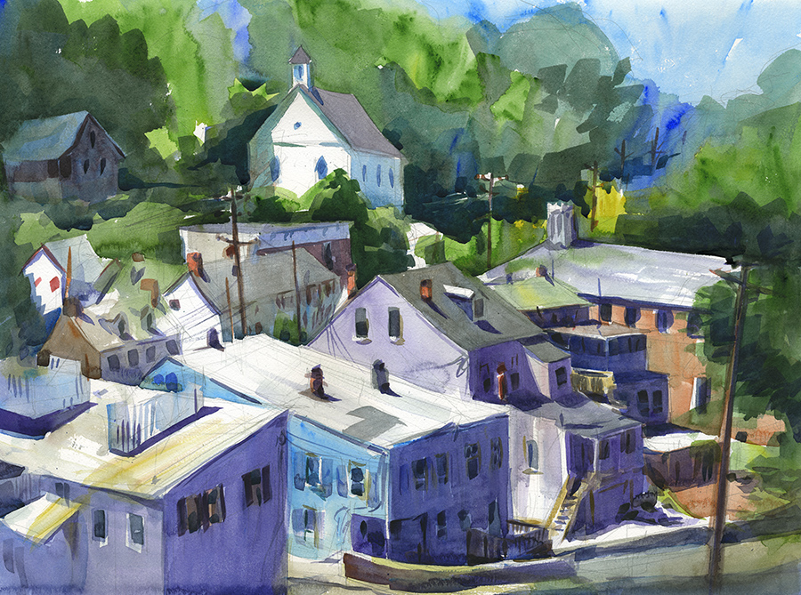 """From a Distance"" (Ellicott City, MD) Watercolor on paper, 18"" x 24"", 2017 Available- please inquire"