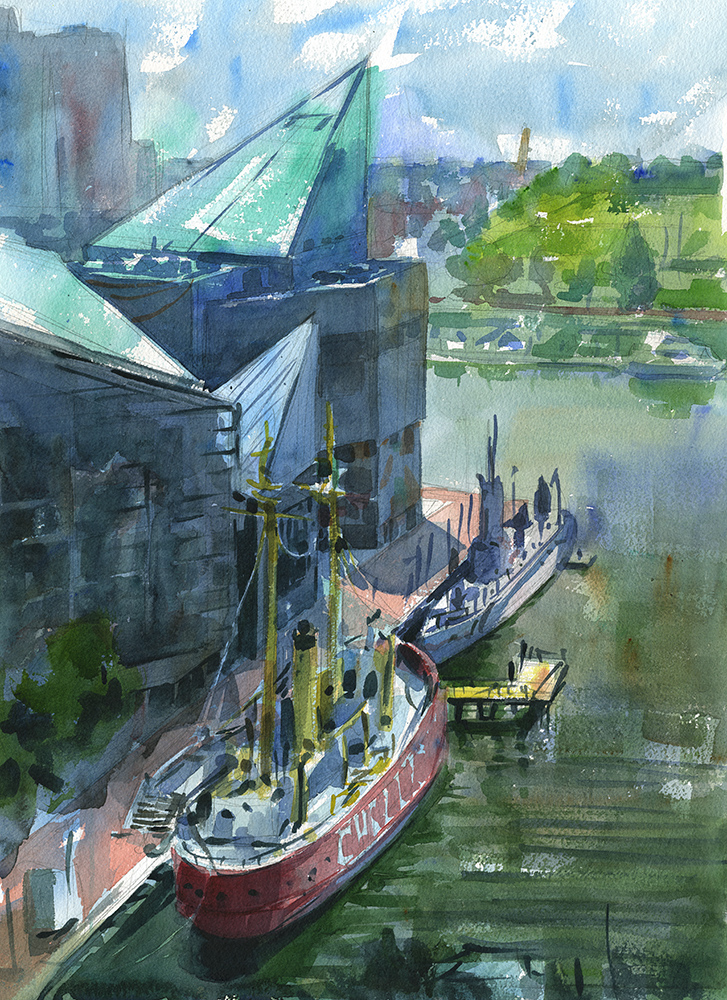 """From One Fishbowl to Another"" (Inner Harbor, Baltimore, MD) Watercolor on paper, 18"" x 24"", 2016 Received Second Place at Mid-Atlantic Plein Air Painters' Association ""Cityscape"" exhibit in 2016 Sold  Prints available in shop."