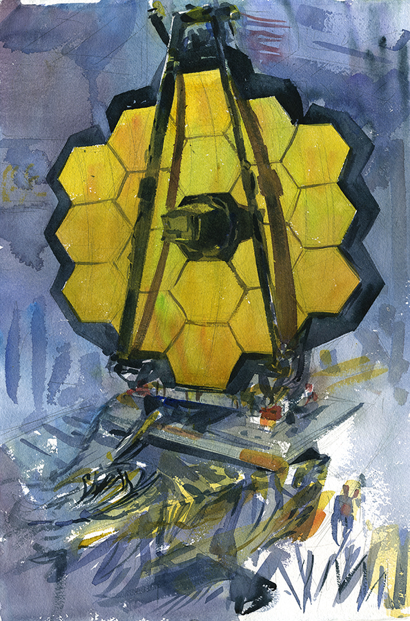 """James Webb Space Telescope"" (Painted from Life at NASA Goddard), Watercolor on paper, 15"" x 22"", 2016 Currently on view at the Texas Museum of Science and Technology through March 18, 2018 and available for sale through  Art.Science.Gallery  Prints available  through Etsy"