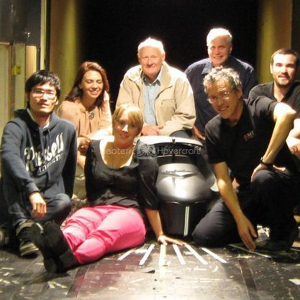 1/3 scale model of Neoteric's High Speed Craft Model 6153 inside the RMIT industrial wind tunnel  Clockwise from left: Pisate Paisiriyuenyong, student; Louise Bester, RMIT Projects Coordinator; Rob Wilson, President, Neoteric Engineering Affiliates, Ptd. Ltd.; David Atkins, Design Engineer, Neoteric Hovercraft, Inc.; Dr. Caleb White, RMIT Program Director; Simon Watkins, RMIT Professor; and Sarah Budge, student.