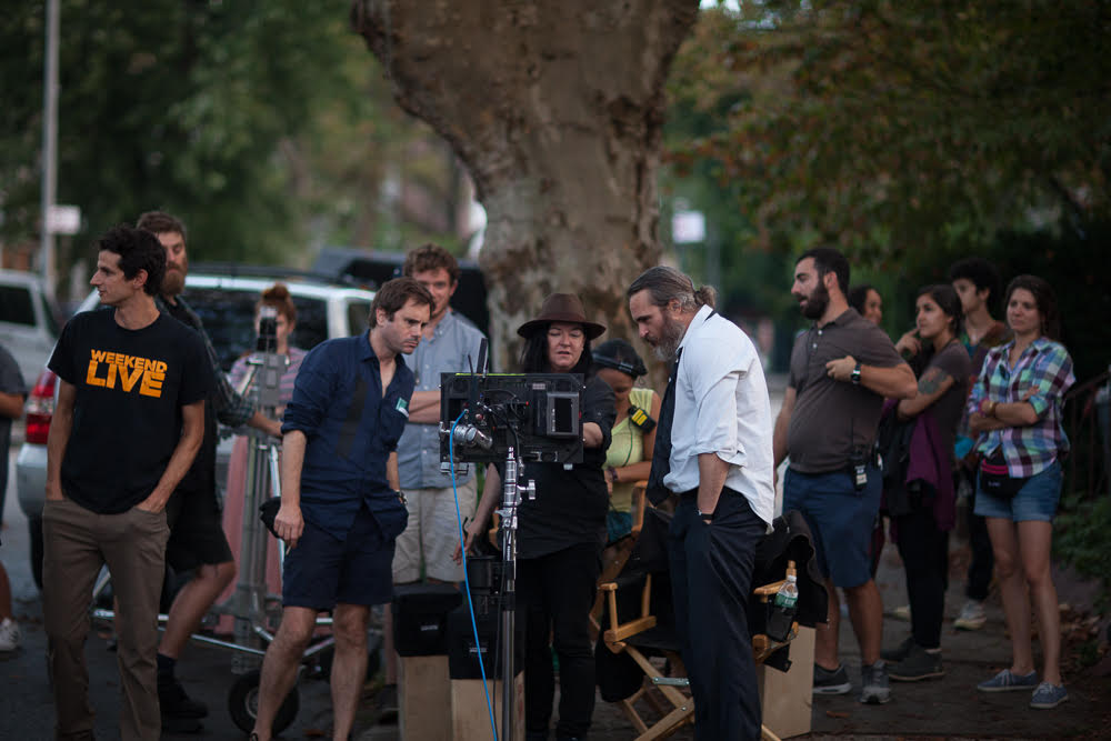 Tom Townend (second left) with Lynne Ramsay and Joaquin Phoenix on the set of  You Were Never Really Here