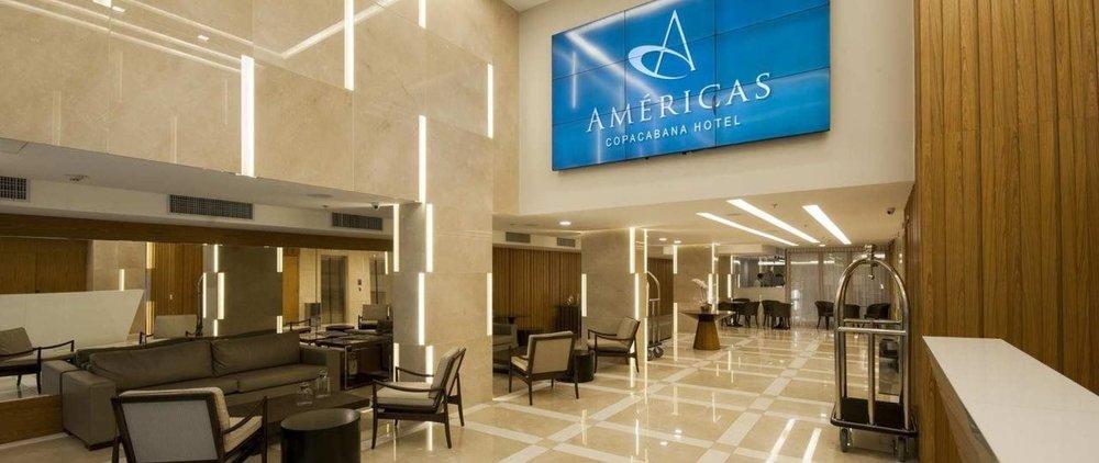 Américas Copacabana   Rua Barata Ribeiro, 550,Copacabana, Rio de Janeiro, 22040-002, Brasil  +55 (21) 34459666   reservas@americascopacabanahotel.com.br   Situado a sólo dos cuadras de una de las más famosas playas de Brasil ya pocos metros del Metro, el recién inaugurado AMÉRICAS COPACABANA HOTEL ofrece confort, seguridad y modernidad en sus 206 habitaciones y restaurante con excelente gastronomía y capacidad para 140 personas.