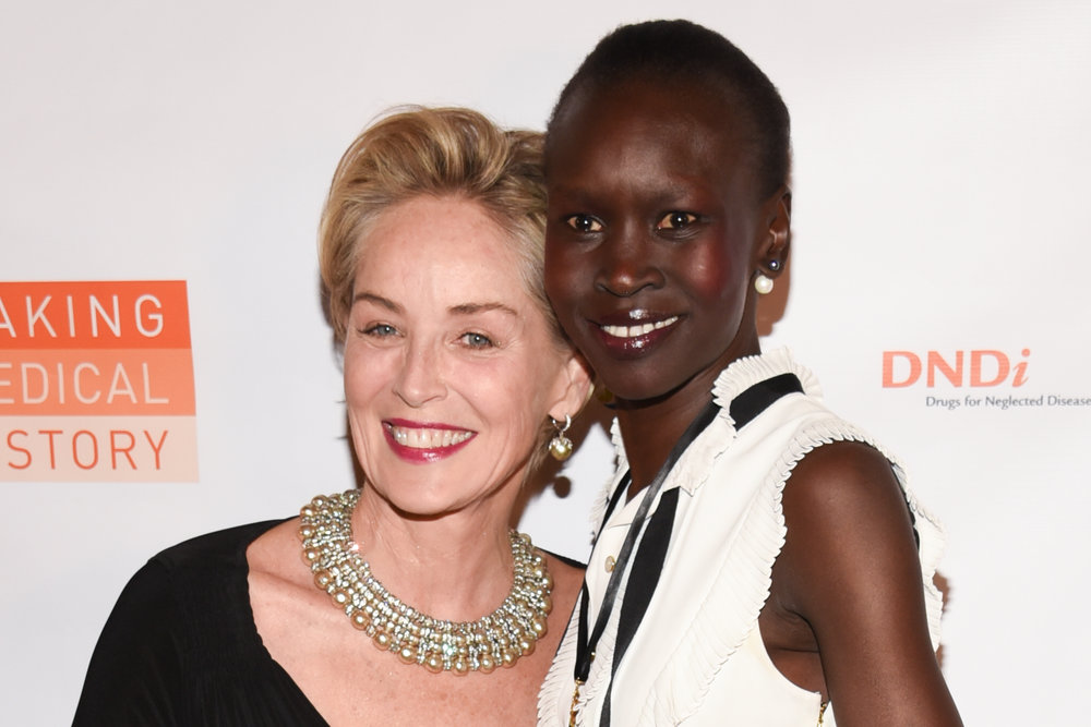Sharon Stone and Alek Wek