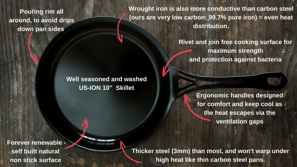 We love traditional cast iron too, in a nostalgic kind of way. Wrought iron performs the same at half the weight.