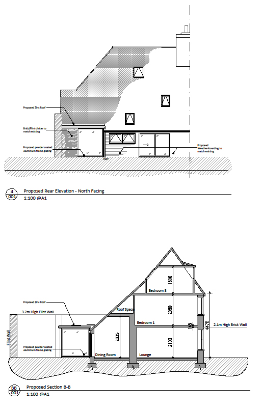 Listed Building Consent Elevation and Section.