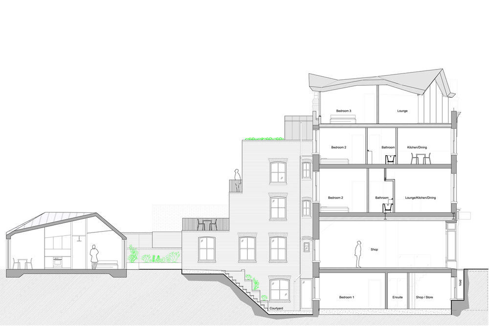 Section through proposal showing penthouse, rebuilt extension and mews house.