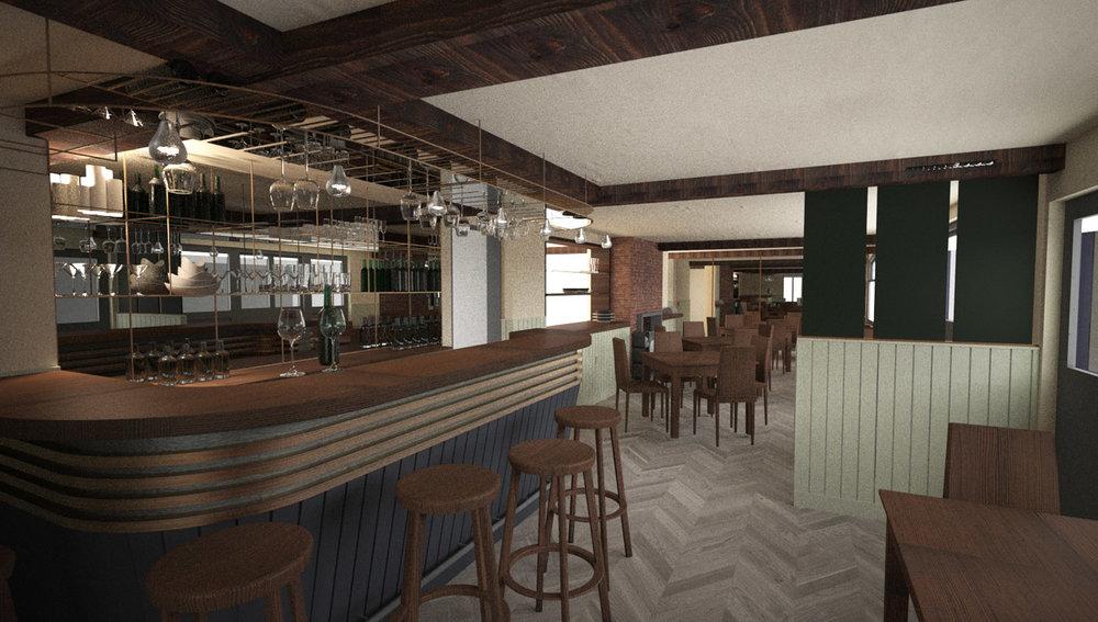 Concept interior design of bar area