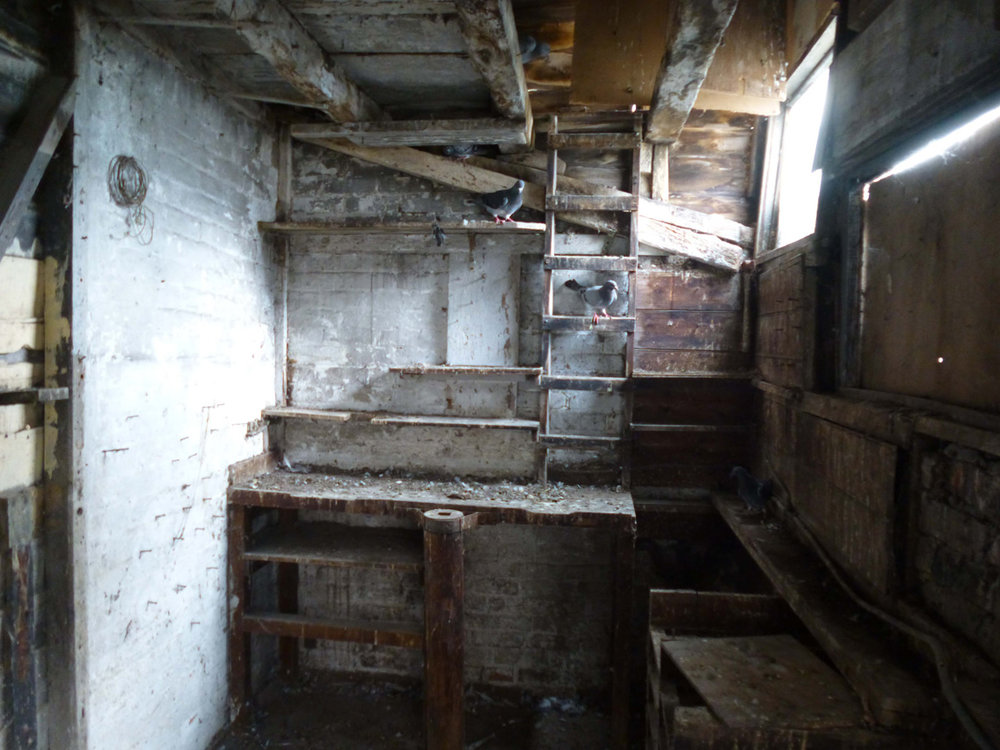 Interior of derelict workshop.