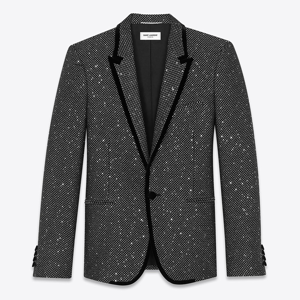 Saint Laurent Long Jacket In Spangled Black And Silver Tweed