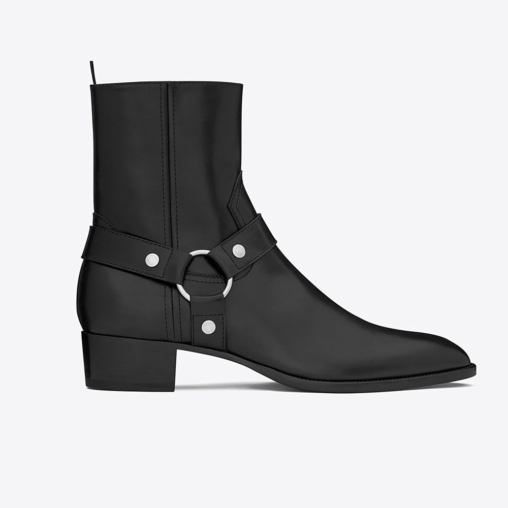 Saint Laurent Wyatt 40 Harness Boot In Black Leather