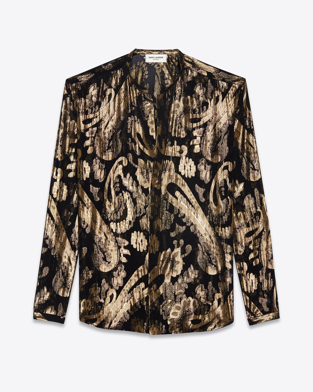 Saint Laurent Tunisian Collar Shirt In Black Silk With Gold Lamé Flowers