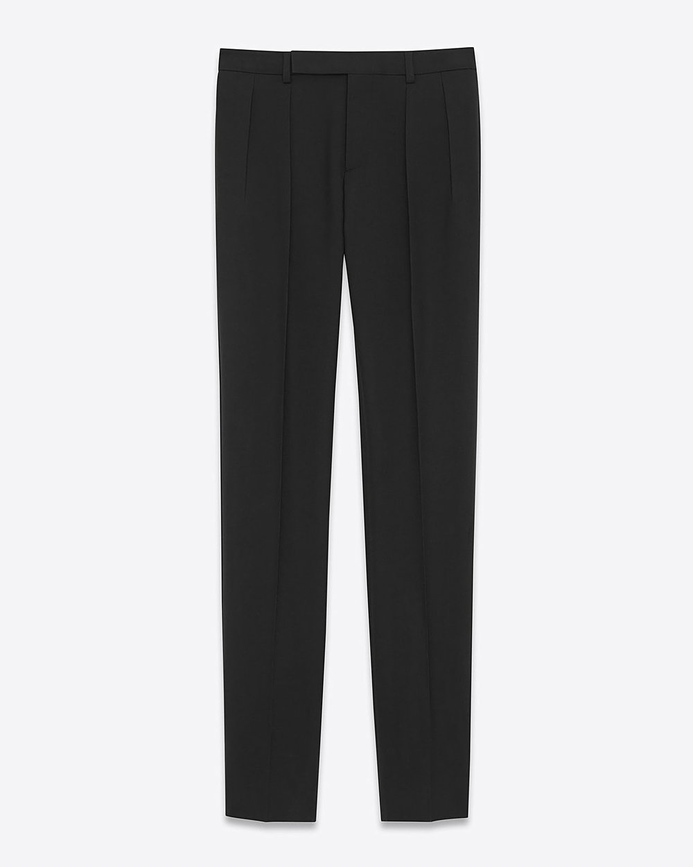 Saint Laurent Low Waisted Pleated Trouser In Black Gabardine