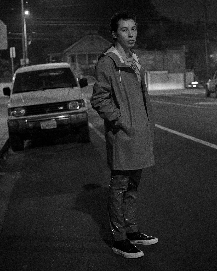 raincoat STUTTERHEIM, trousers MSGM, sneakers BRANDBLACK