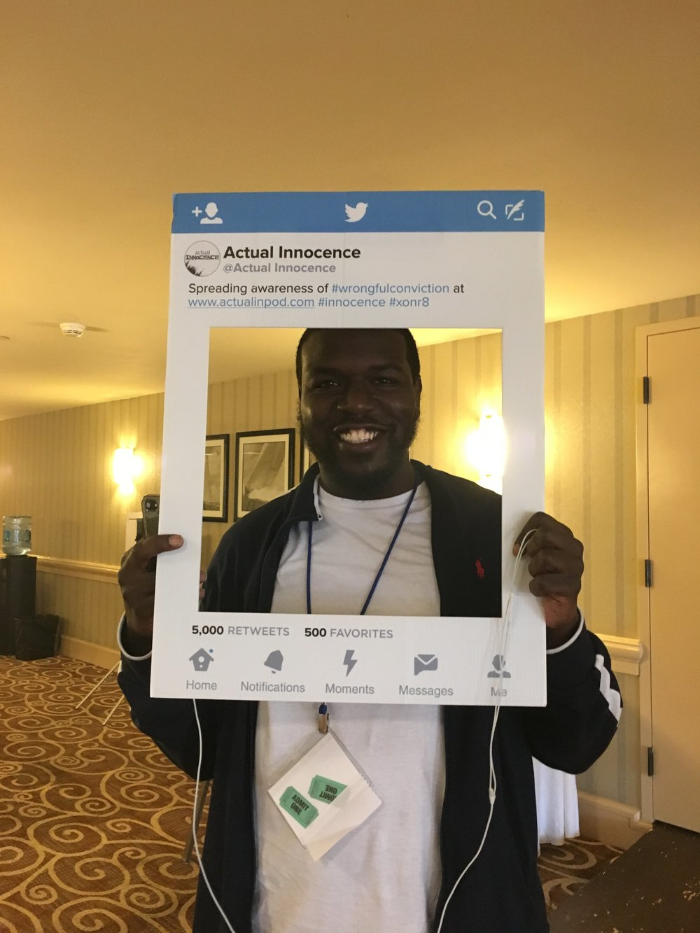 Donte Rollins had been out of prison for 2 months when he attended the 2017 Innocence Conference. He's mastered social media though - obviously.
