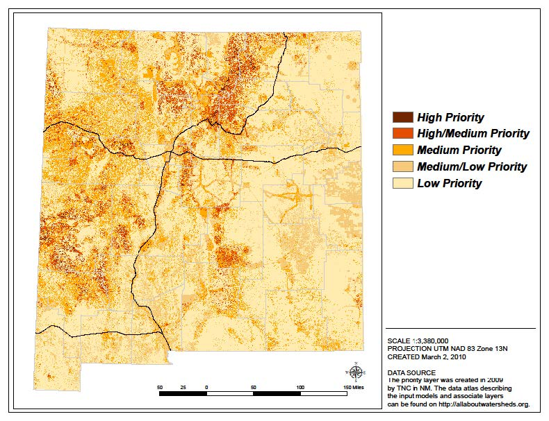 Wildfire risk modeled by TNC during the development of the 2010 Statewide Assessment.