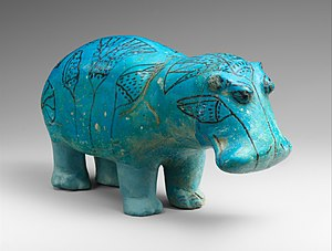 Egyptian faience hippopotamus, nicknamed William, from Metropolitan Museum of Art collection in New York City.