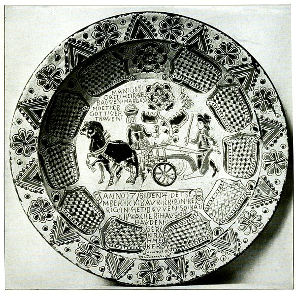Dutch sgraffito pottery dish created in 1906. From collection of the Philadelphia Museum of Art