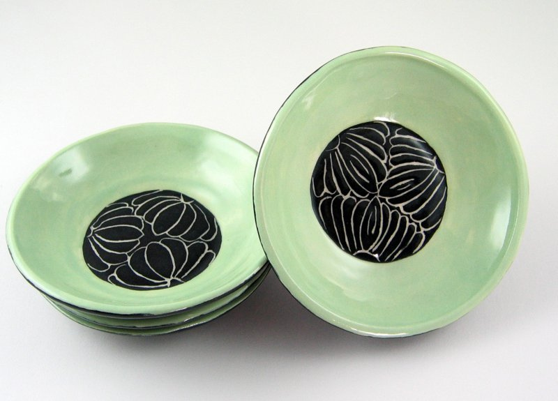 small sgraffito ceramic bowls made by grizzlymountainarts