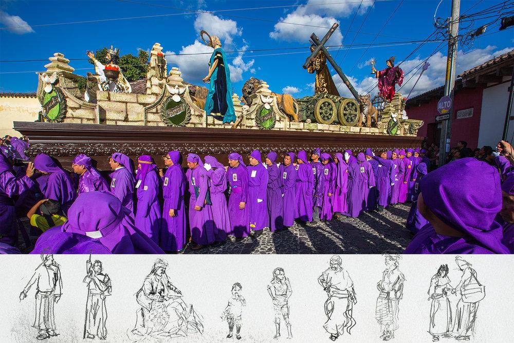 Semana Santa in Antigua, Guatemala. Mixed Media Photograph and Pencil.