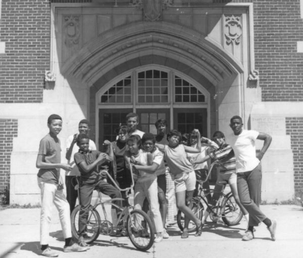 Kids in front of Bryant Junior High School, 1968   Photo Credit: Eric Sutherland for Walker Art Center