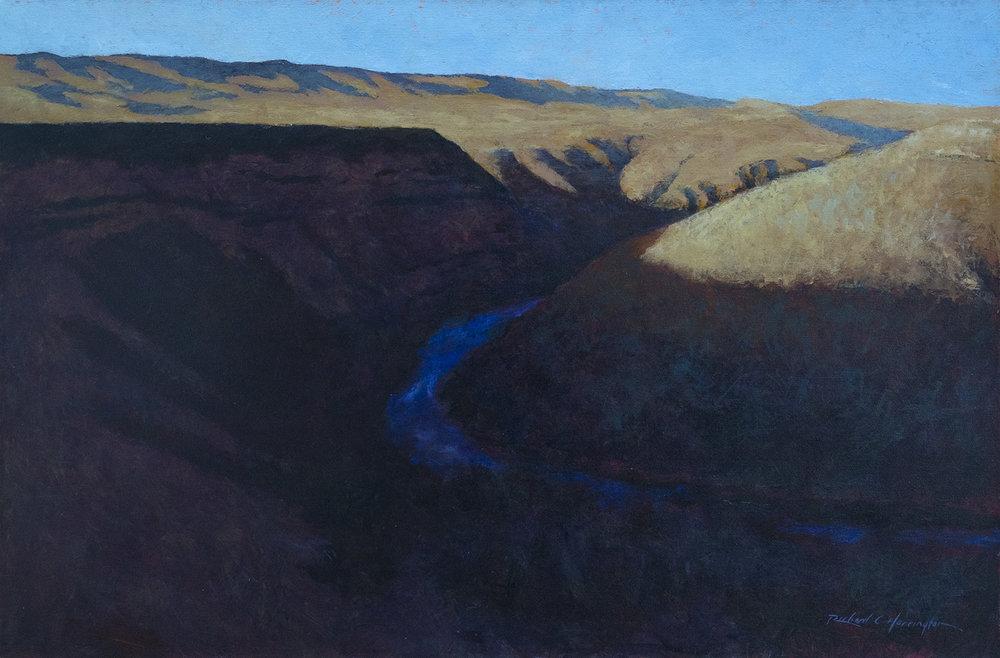 Deschutes in Shadow, oil on canvas,